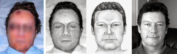 La victime, le visage rendu via un logiciel, le dessin d'un artiste forensique, la victime identifiée