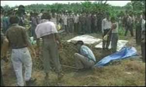 Les fouilles dans le champ de cannes à sucre