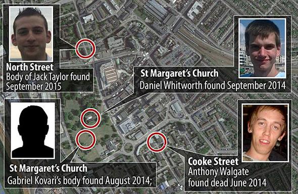 Les lieux où les victimes ont été découvertes