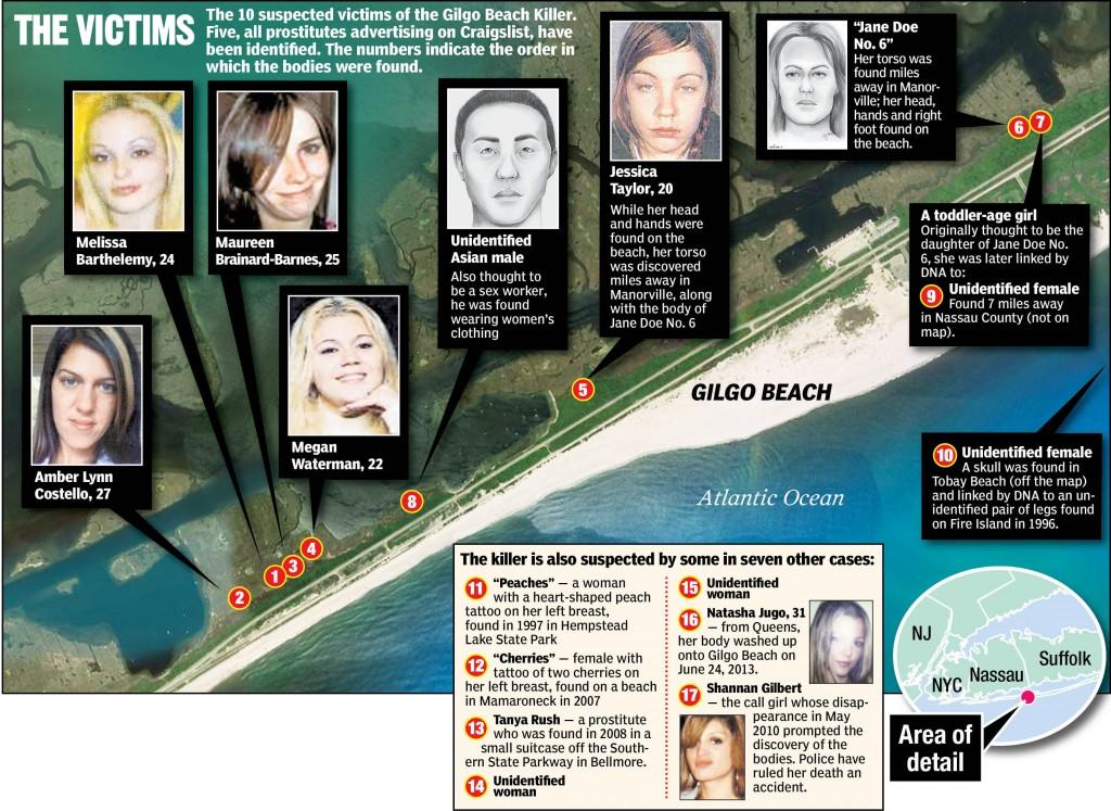 Carte des lieux où ont été découverts les corps à Long Island