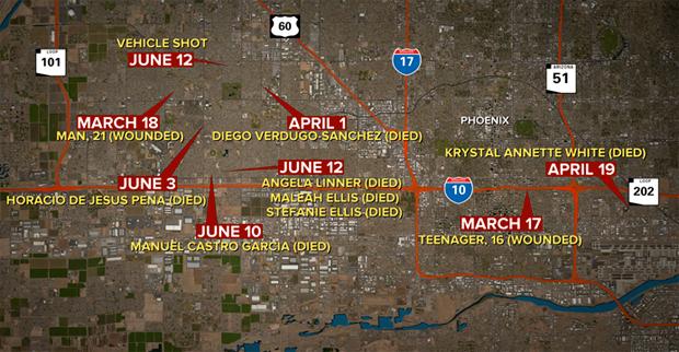 Les endroits où les meurtres ont eu lieu