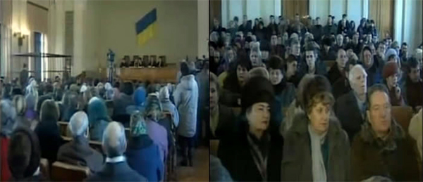 La foule présente lors du procès