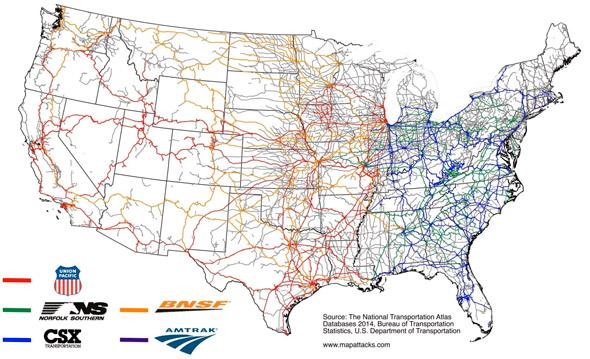 Carte des chemins de fer américains, avec leurs sociétés propriétaires